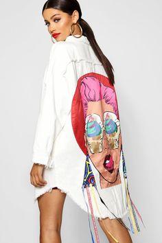 Embellished Motif Longline Denim Jacket Pop Art Fashion, Fashion 2020, Colorful Fashion, Fashion Outfits, Urban Fashion, Hijab Fashion, Womens Fashion, Fashion Design, Hair And Beauty