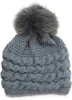 c5975cebc02 Inverni Cashmere Cable-Knit Beanie Hat w Fur Pom Pom  blue  cashmere