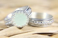 Vintage Style Chalcedony Wedding Ring Set - Eco Friendly Engraved Wedding Band & Engagement Ring - Alternative Diamond LOVE THIS! Vintage Style Engagement Rings, Vintage Style Rings, Alternative Engagement Rings, Wedding Sets, Wedding Bands, Wedding Ring, Bridal Rings, Wedding Band Engraving, Diamond Alternatives