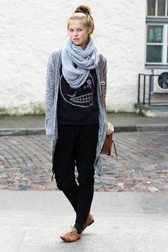 in black, with black slouchy pants, grey cardigan+ scarf, and tan oxfords  // @dressmeSue pins real outfits