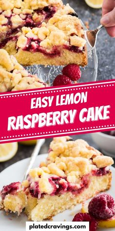 This easy Lemon Raspberry Cake is topped with delicious, cookie-like streusel and filled with juicy raspberries! A buttery and moist crumb cake that is perfect for spring and summer and easy to make from scratch. Your guests will be begging you for the recipe! Easy Baking Recipes, Easy Cake Recipes, Party Recipes, Easy Desserts, Sweet Recipes, Holiday Recipes, Dessert Recipes, Easy Party Food, Party Food And Drinks