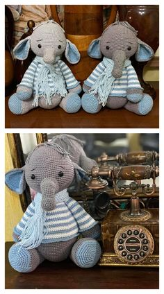 In this article I will share a wonderful amigurumi pattern again. You can enjoy this beautiful amigurumi elephant free english pattern.  Materials  Yarn Pekhorka children's novelty,  1 skein of the main color, half  skein of a different color  Hook 1.5-1.75  Filler  Long needle  Plastic joint or cotter pin  Plastic eyes d = 13mm, with  you can use  baked plastic for protein  Artificial cilia, button  1.5 mm wire for neck  no joint or cotter pin Crochet Food, Crochet Baby, Elephant Pattern, Amigurumi Toys, Crochet Animals, Main Colors, Free Pattern, Bunny, Teddy Bear