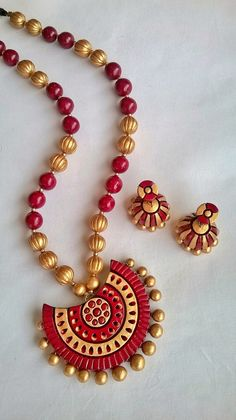 Half-Circle Maroon Terracotta Necklace and Ear-hangings set