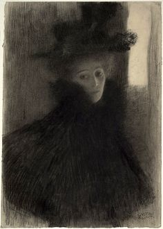 Drawing of a Woman with Cape and Hat in Three-quarter Profile (1898) Gustav Klimt (by BoFransson)