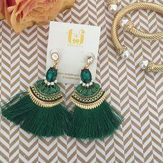 "Emerald Green Tassel Earrings Emerald green tassel earrings by T&J Designs| 3"" long | material: gold plated base metals | Crystals | thread | lead and nickel free T&J Designs Jewelry Earrings"