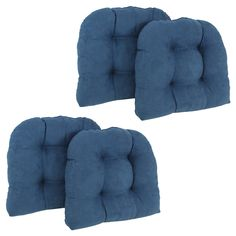 Blazing Needles Microsuede U Shaped Indoor Chair Cushion - Set of 4 - 93184-4CH-MS-AB