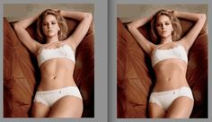 Before and After Photoshop of Jennifer Lawrence - - - - I can't believe how skeletal they made her look! We really need to recalibrate our notions of feminine beauty. She definitely looks much better in the original photo on the left.