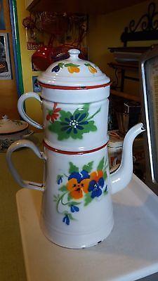 Antiguidade-Francesas-Esmaltadas-Cafe-Big-Wing-Pot-C-1920-Decorada-Com-Flores