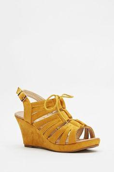 Suedette Wedge Sling Back Sandals