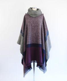 WOOL Plaid Blanket PONCHO  Huge Cowl Neck  by storybookvintage, $108.00