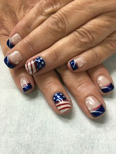 Patriotic 4th of July Shimmer Red, White & Blue Flag stamped French gel nails