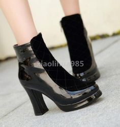 Fashion Winter Womens Ankle Boots Shiny Leather Warm Thick Block High Heel Shoes