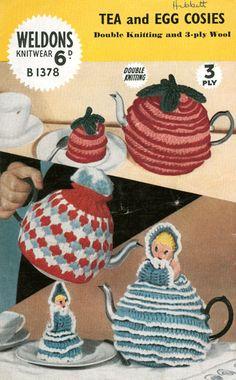 vintage knitting pattern tea cosies
