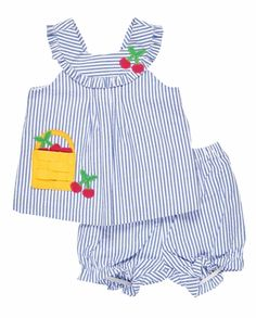 Your baby girl's spring and summer fun is easy breezy with bloomers and short sets from The Best Dressed Child. Nice Dresses, Girls Dresses, Kids Branding, Top Designer Brands, Baby Sewing, Seersucker, Cotton Dresses, Clothes, Tops