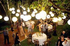 nighttime backyard party