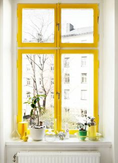 love the yellow window... i wonder where should i put it though.. kitchen? or large windows at the dining room