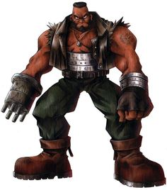 View an image titled 'Barret Wallace Character Art' in our Final Fantasy VII art gallery featuring official character designs, concept art, and promo pictures. Artwork Final Fantasy, Final Fantasy Characters, Final Fantasy Vii Remake, Video Game Characters, Fantasy Series, Anime Characters, Game Character Design, Character Creation, Character Art