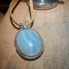 Blue lace agate necklace Pendant necklace Copper by RamixBijoux