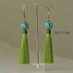 Tassels earrings Trendy Antique Green Fly Insect Jewelry Tassels Stylish Woman Lady beads Girl Ginger Blue Brass Gemstone jewelry Earrings by Napoleonka on Etsy