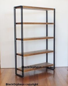 Industrial Bookcase, Ironstone, W100xD30xH150, Metal, Timber Look Shelves.