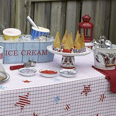 Make a patriotic tablecloth to celebrate the 4th of July.