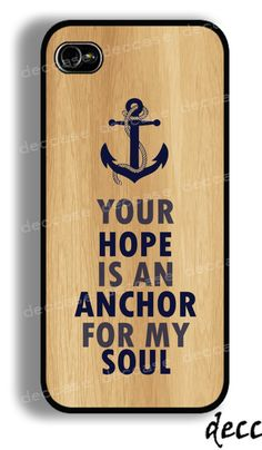 IPHONE 5 CASE White anchor on Blue text word quote on wood iPhone 4 case iPhone 4S case iPhone case Hard Plastic Case Soft Rubber Case