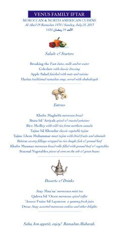 Venus Family Iftar July 28, 2013.  Another Menu I made for the fun of it.