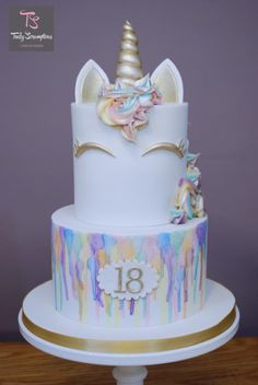 2 tier watercolour rainbow unicorn cake www.tscakesbydesign.co.uk