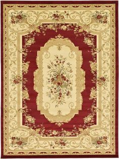 Red 9' 0 x 12' 0 Classic Aubusson Rug | Area Rugs | eSaleRugs