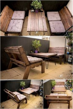 This is coming out to be the superb design of the wood pallet where you will conceptually be finding the outdoor furniture effect. Here lovely wood pallet dark shaded material has been availed that offers center table piece with the couch designing piece work.