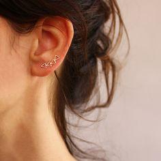 Triangles ear cuff   Ear Climber  4 Triangles    by sigalitaJD