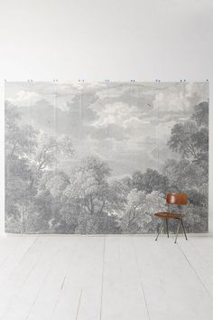 Etched Arcadia Mural - Anthropologie.com  Mimicking the monochromatic splendor of traditional Italian Grisaille (grĭ-zī', -zāl'; French: gris, grey), this graphic mural could easily anchor a blah, blah space. Pair it with crisp white linens for a graphic room with old world charm and add a splash of bright color with an accent pillow such as citron green or raspberry pink. Can you see it?