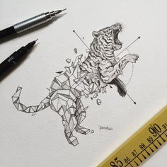 The Philippines-based artist Kerby Rosanes i s back with a series titled Geometric Beasts. Kerby Rosanes uses only ordinary black pens to create his doodles, this time blending wild animals with. Geometric Tiger, Geometric Drawing, Geometric Shapes, Geometric Tattoo Animal, Geometric Artists, Animal Drawings, Art Drawings, Animal Illustrations, Drawing Drawing