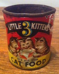 Super RARE Vintage 1940s Three Little Kittens Cat Food Tin Can Boston Mass Used | eBay