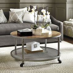 For our new living room - Industrial Round Coffee Table - Ballard Designs