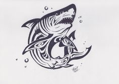 Tribal shark tattoo design