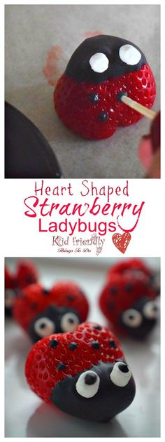 Heart shaped Chocolate Covered Strawberry Ladybugs for a fun food treat on Valentine's Day, Spring, Summer, Fairy Garden Parties or any day! Easy, Fun and delicious. Valentines Day Food, Valentine Treats, Holiday Treats, Valentine Cupcakes, Heart Cupcakes, Pink Cupcakes, Strawberry Snacks, Strawberry Ideas, Strawberry Decorations