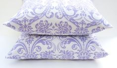 20 x 20 Throw Pillow Covers Purple Pillow Lavender Damask Housewares Decorative Throw Pillow Covers Printed Fabric Both Sides