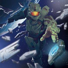 Master Chief And Cortana, Halo Master Chief, Halo Reach, Video Game Art, Video Games, Halo Lego Sets, Halo Poster, Cortana Halo, John 117