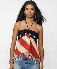 Denim & Supply Ralph Lauren Fringed American-Flag-Print Halter Top