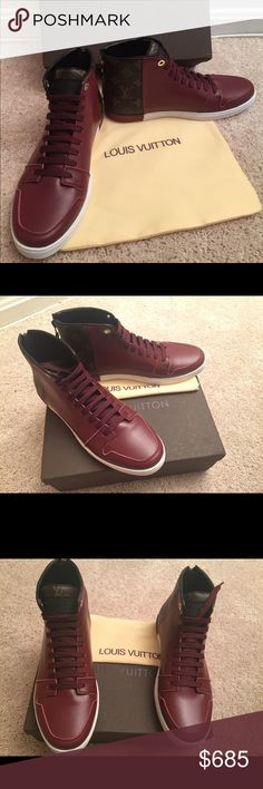 Louis Vuitton Line-Up Hightop Men Sneakers - Size 9 - Brown/Burgundy - Calf leather and Monogram - Zip at the back - High-quality removable anatomic in-sock - Graphic two-tone rubber outsole Louis Vuitton Shoes Sneakers