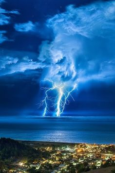 Blue Lightning over Blue Water