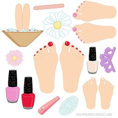 Pampered Pedicure set comes with 13 clipart graphics including: 3 feet with painted toe nails in Red, Pink & French Tipped, a pair of clippers, Pedicure Colors, Pedicure Set, Pedicure Nail Art, Pedicure Designs, Cool Nail Designs, Painted Toe Nails, Cute Pedicures, Nail Logo, Nail Salon Decor