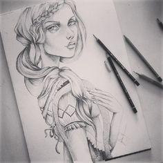 #art #design #illustration #girls #6b #lapis #pencil #pattern #b&w #drawing #fashiondrawing  instagram:@rubianareolon