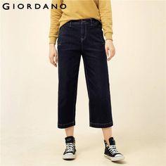 Джордано Для женщин Джинсы для женщин ботильоны Длина широкие брюки Джинсы для женщин молния и пуговицы Модные Джинсовые брюки Твердые струи карманы леди днище брендовая одежда