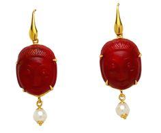 925 Sterlin Silver Venetian cameos Buddha earrings.