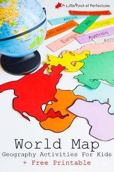 FREE Interactive World Map With Activities If you are studying world geography, then grab this FREE World map and activities for kids. This printable map is an interactive way to learn about the continents.<br> FREE Interactive World Map With Activities Geography Activities, Geography For Kids, Geography Map, Maps For Kids, Teaching Geography, Social Studies Activities, World Geography, Teaching Social Studies, Preschool Activities
