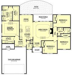 Ranch Style House Plan - 4 Beds 2 Baths 1875 Sq/Ft Plan #430-87 Floor Plan - Main Floor Plan - Houseplans.com