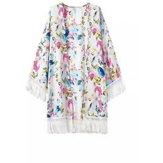 Yoins Tassel Fresh Floral Print Kimono