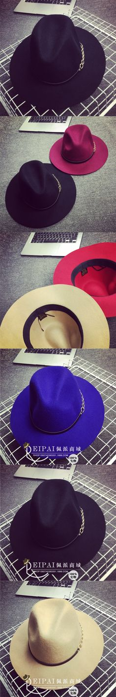 New 100% Wool Cashmere Wool Fedoras Solid Wide Large Brim Hats For Women Vintage Felt Floppy Hat DII $16.99